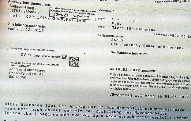Mahnverfahren RA Schwartmann