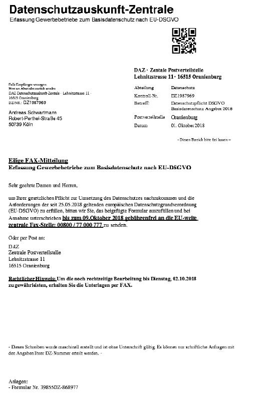 Warnung vor Datenschutzauskunft-Zentrale 1